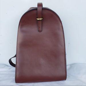 Genuine Smooth Leather Deep Brown Satchel Backpack